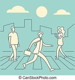 gyalogátkelőhely, áthalad út, emberek
