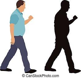 gyalogló, ábra, elszigetelt, árnykép, háttér., vektor, fehér, ember