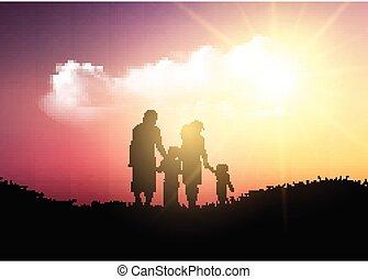 gyalogló, árnykép, család, ég, ellen, napnyugta