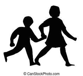 gyalogló, árnykép, gyerekek