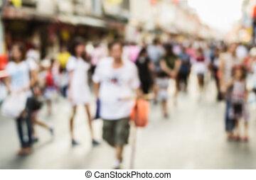 gyalogló, életlen, utca emberek