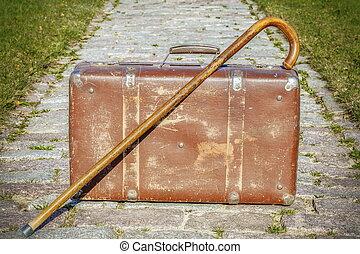 gyalogló, öreg, bot, bőrönd