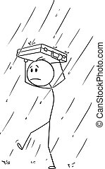 gyalogló, övé, aktatáska, fej, eső, vagy, vektor, üzletember, oltalmaz, karikatúra, ember