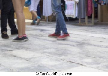 gyalogló, útburkolat, liget, cipők