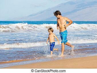 gyalogló, atya, együtt, fiú, tengerpart, boldog