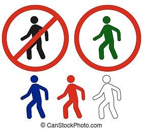 gyalogló, cégtábla, tiltott, ember