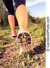 gyalogló, cipők, erdő, gyakorlás, futás, kaland, vagy