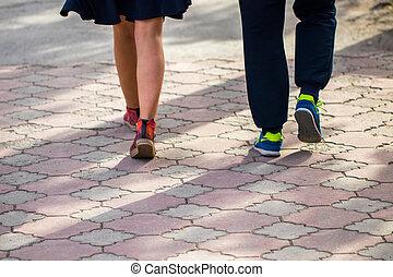 gyalogló, cipők, eredet, útburkolat, sport, nap