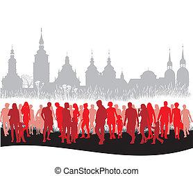 gyalogló, csoport, emberek