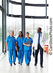 gyalogló, csoport, kórház, egészség, munkás, törődik