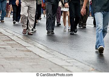 gyalogló, csoport, tolong, emberek, (motion, -, együtt, blur)