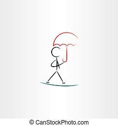 gyalogló, esernyő, ábra, vektor, ikon, ember