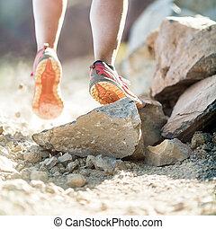 gyalogló, gyakorlás, futás, combok, kaland, vagy