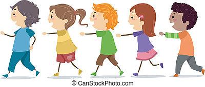 gyalogló, gyerekek, egyenes, egy