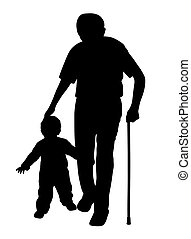gyalogló, gyermek, bot, nagyapa