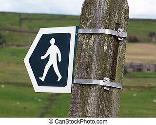 gyalogló, helyes, england környék, megfog, vagy, mocsár, irány cégtábla, tanyák, állhatatos, irány, út, gyalogút, yorkshire, közönség, javalló