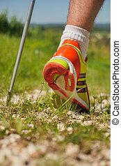 gyalogló, járda, sport cipő, ember