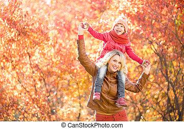 gyalogló, külső, szülő, liget, együtt, ősz, kölyök, boldog