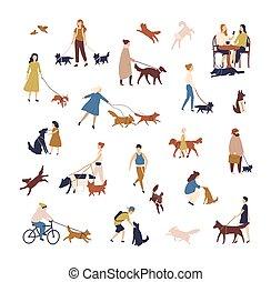 gyalogló, külső, tolong, emberek, belföldi, style., csoport, háttér., elszigetelt, apró, -eik, kisállat, fehér, kutyák, elfoglaltságok, férfiak, ábra, lakás, utca., nők, állatok, előadó, vektor, vagy