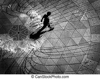 gyalogló, kilátás, szökőkút, át, antenna, felül, látszó, személy, lefelé