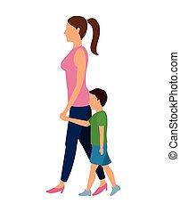 gyalogló, nő, tervezés, gyermek