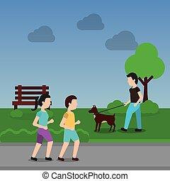 gyalogló, párosít, liget, színhely, kutya, ember