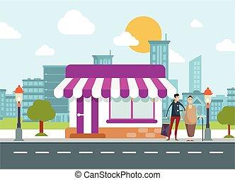 gyalogló, road., bábu woman, utca, segítség, idősebb ember, forgalom, város, városi, autók, átkelés, bot