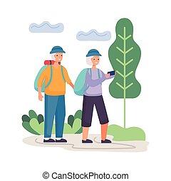 gyalogló, seniors, betűk, tábor, párosít, aktivál
