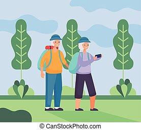 gyalogló, seniors, tábor, párosít, aktivál