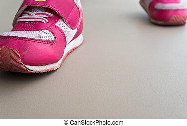 gyalogló, sport cipő, gyerekek