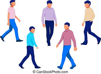 gyalogló, színes, set., ábra, silhouette., vektor, háttér, fehér, ember