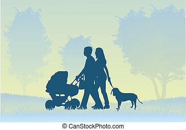 gyalogló, szülők, gyermek