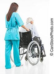 gyalogló, türelmes, ülés, bevétel, fiatal, elszigetelt, magabiztos, időz, seniors., ápoló, fehér, kilátás, tolószék, fenék, törődik