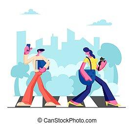 gyalogló, traffic., város, elfoglalt, fiatal, idő, gyalogátkelőhely, imádnivaló, lakás, nő, életmód, nagy, ábra, telefon, kímél, mentén, siet, hétvégi, karikatúra, ember, munka, kutya, vektor, lakók, vagy, metropolis