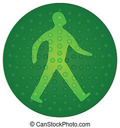 gyalogló, zöld, ember