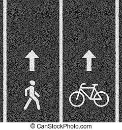 gyalogos, bicikli út