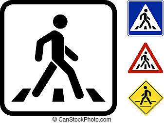 gyalogos, jelkép, vektor