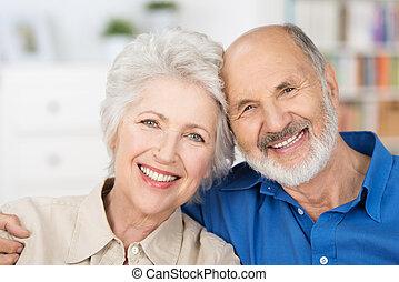 gyengéd, párosít, nyugdíjas, boldog