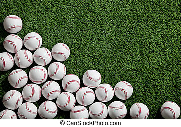 gyep, megnézett, zöld, felül, baseball