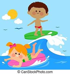 gyerekek, ábra, szörfözás, sea., lenget, vektor