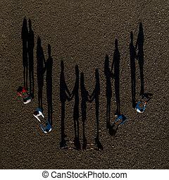 gyerekek, áll, csoport, eredő, shadows, tető, nézet., út