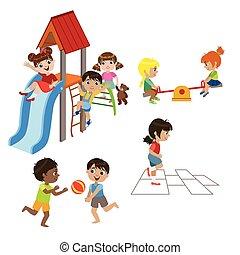 gyerekek, állhatatos, játék, szabadban