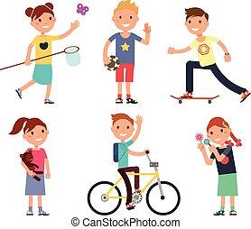 gyerekek, állhatatos, játék, toys., vektor, játszótér, gyerekek, boldog
