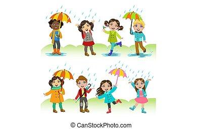 gyerekek, állhatatos, lány, eső, játék, fiú, vektor, ábra, szabadban, móka, birtoklás, boldog