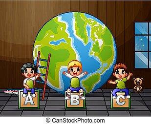 gyerekek, ülés, karikatúra, abc, ábécé