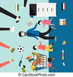 gyerekek, üzletember, atya, több feladattal való megbízás, dolgozó, kids., bevásárlás, játék, man.