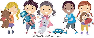 gyerekek, apró, stickman, játék