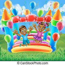 gyerekek, bástya, bouncy