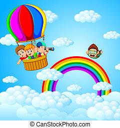 gyerekek, balloon, repülés, levegő, csípős, skydiver, boldog