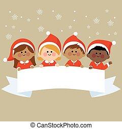 gyerekek, banner., öltözött, jelmezbe öltöztet, ábra, vektor, tiszta, horizontális, karácsony